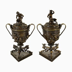 Antique Italian Incense Burners by Antonio Pandiani, Set of 2