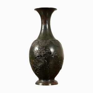 19th Century Japanese Bronze Vase with Dark Patina