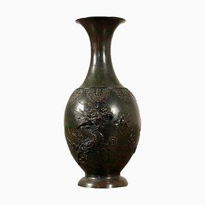 Japanische Bronze Vase mit dunkler Patina, 19. Jh