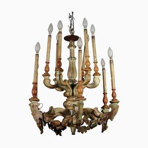 Lámpara de araña italiana lacada y tallada, siglo XIX