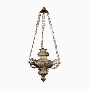 Lámpara de araña italiana con linternas plateadas, siglo XIX