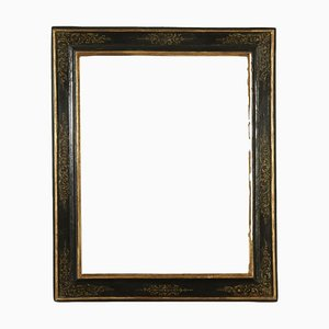 18th Century Italian Black Lacquer Frame with Ornaments