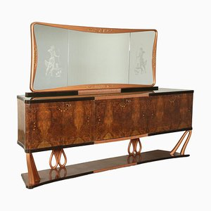 Vintage Italian Rosewood Burl Veneer Buffet with Mirror, 1940s