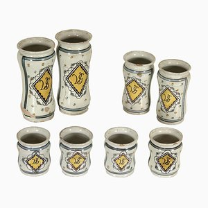 19th Century Italian Polychrome Ornamented Ceramic Vases, Set of 8