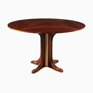 Italienischer Runder Vintage Tisch aus Palisander mit Messing Intarsie, 1960er