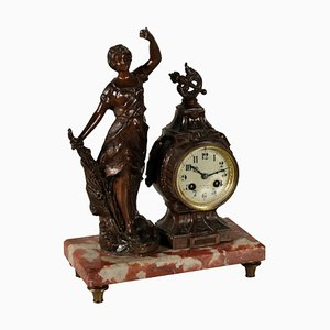 Table Clock with Marble Base and Statue, Italy, Early 20th Century