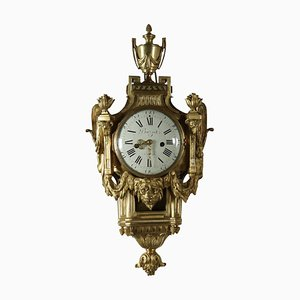 Pendulum Wall Clock in Gilded Bronze from Buzot à Paris, 18th Century