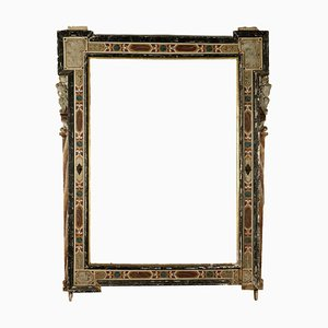 Large Antique Mirror with Lacquered Frame, Italy