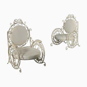 Eiserne Sessel mit gepolsterten Kissen, Italien, 1900er, 3er Set