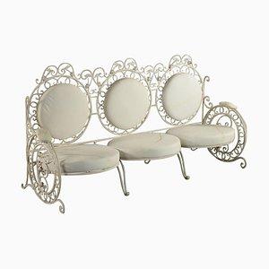 3-Sitzer Sofa aus Eisen mit gepolsterten Kissen, Italien, frühes 20. Jh
