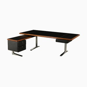 Vintage Desk with Dactyl Leather Wood, Italy, 1980s