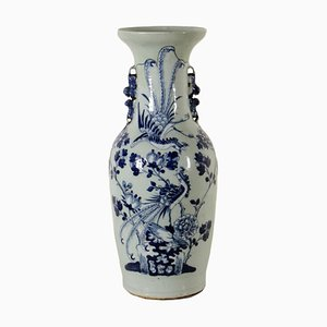 Porcelain Vase Made in China Blue White Paintings, Early 1900s