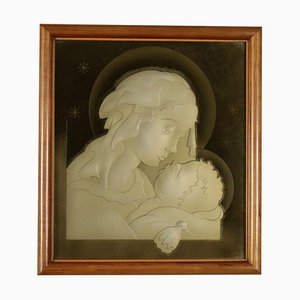 Madonna with Child Gilded Glass, Italy, 1940s