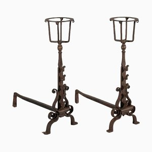 Mantel Andirons in Wrought Iron, 18th Century, Set of 2