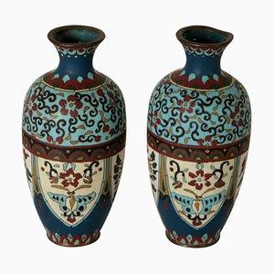 Dekorative Cloisonné Vasen, Italien, 2er Set