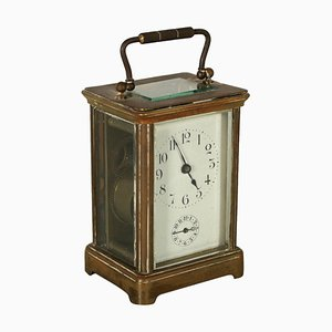 Portable Clock in Gilded Bronze and Glass, Late 19th Century