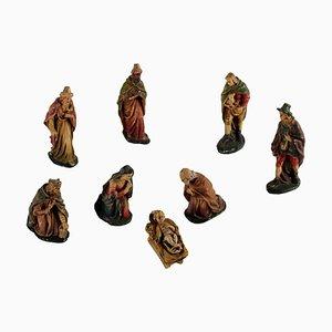 Krippen Statuen aus Gips, Italien, 1900er, 8er Set