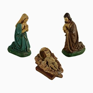 Holy Family Nativity Gypsum Statues, Italy, 1900s, Set of 3