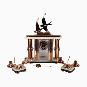 Table Clock with Art Deco Candlesticks, 20th Century