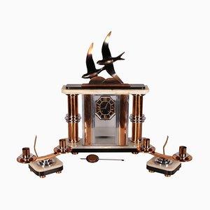 Tischuhr mit Art Deco Kerzenständer, 20. Jahrhundert