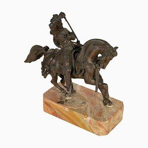 Bronze und Marmorskulptur Ritter zu Pferde, Italien, spätes 19. Jh