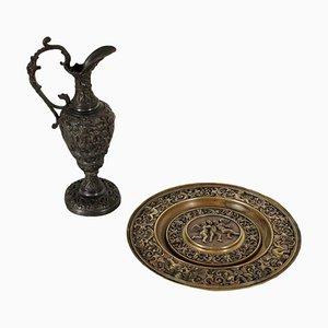 Antiker Krug mit Teller aus Bronze, Italien