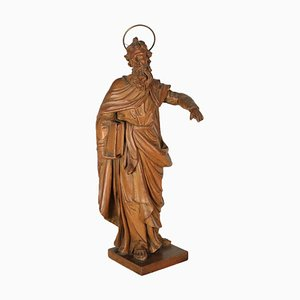 Carved Swiss Pine Sculpture Depicting a Saint, Italy, 18h Century