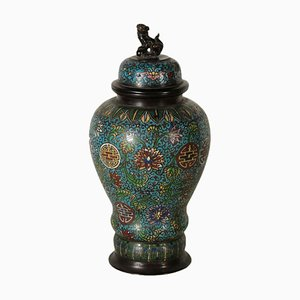Cloisonne Bronze Vase Colored Enamel, Japan, 19th Century
