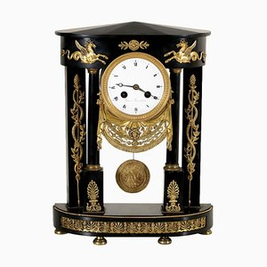 Mantel Clock in Black Marble, Italy, 1800s