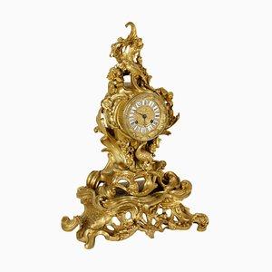 Pendule de Cheminée en Bronze Doré et Fer, France, 1800s