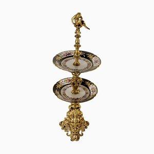 Obstschale aus vergoldeter Bronze & Porzellan, 1800er