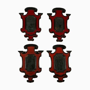 Small Lacquered Mirrors, Italy, 1700s, Set of 4