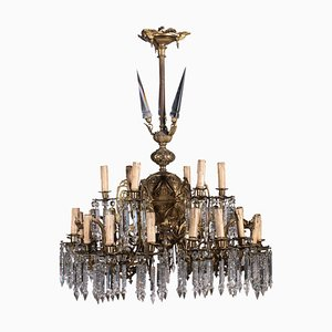 Bronze and Crystal Chandelier, Italy, 20th Century