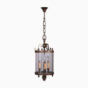 Vintage Lantern Chandelier in Bronze and Glass