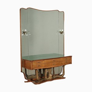 Dressing Table in Burl Veneer and Glass, Italy, 1940s