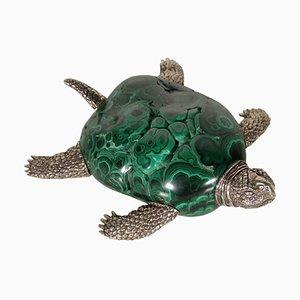 Vintage Schildkröte aus Silber & Malachit, Italien