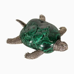 Vintage Turtle in Silver and Malachite, Italy