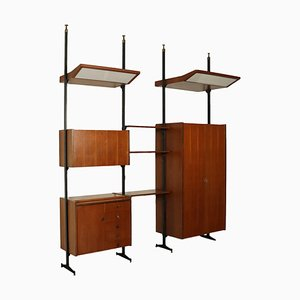 Bookcase in Teak Veneer and Metal, Italy, 1960s