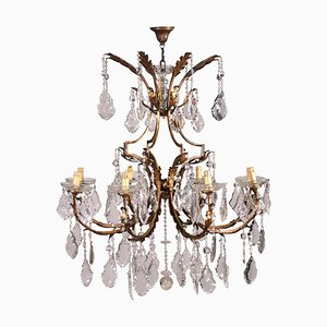 Vintage 8-Arm Chandelier in Iron and Glass