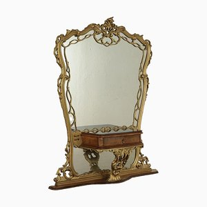 Antique Chippendale Style Patineuse in Gilded Wood and Poplar Burl