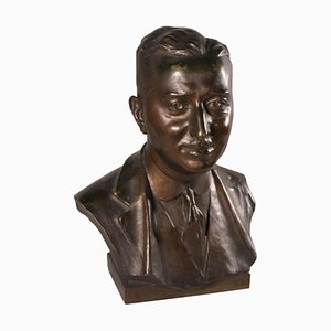 Bronze Male Bust by Emilio Agnati, 20th Century