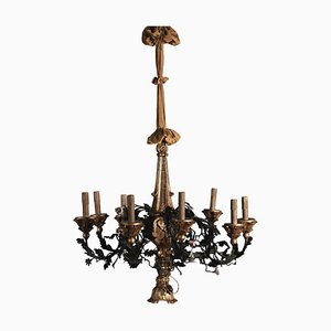 Chandelier in Iron and Wood, Italy, 20th Century