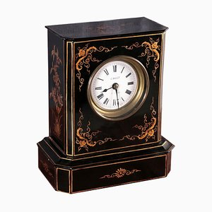 Table Clock in Ebonized Wood, France, 19th Century