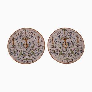 Antike Keramik Teller von Ginori, Italien, Set of 2