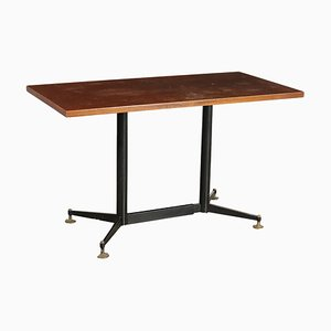 Table in Mahogany Veneer, Metal, and Brass, Italy, 1960s