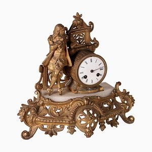 Table Clock in Antimony and Marble, France, 19th Century