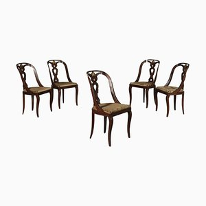 Italian Chairs in Mahogany, Italy, 20th Century, Set of 5