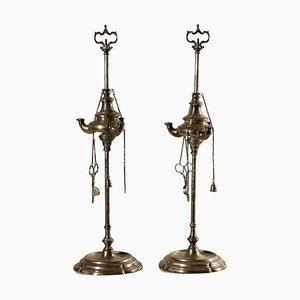 Silberne Öllampen, Italien, 18. Jahrhundert, 2er Set