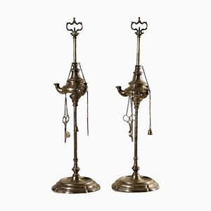 Silver Oil Lamps, Italy, 18th Century, Set of 2