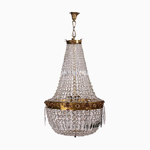 Hot-Air Balloon Chandelier in Brass and Crystal, Italy, 20th Century